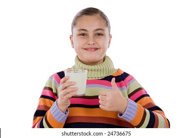 Girl with milk a over white background
