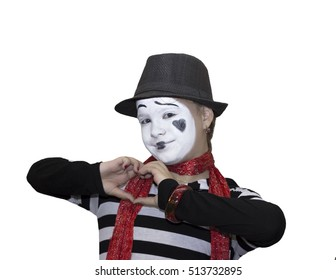 Girl as mime actor isolated on white background