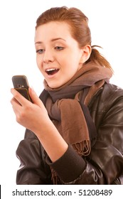 Girl with mobile phone, isolated on white background.