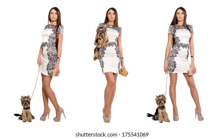 Girl model looks together in white dress posing in full growth. Beautiful woman holds hands near and small dog. Terrier york. Three variants of one photo modern glamorous women in different poses.