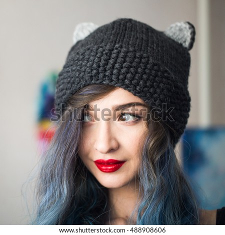 Girl Model Wearing Knitted Fancy Hat Stock Photo (Edit Now ... 523acf393c0
