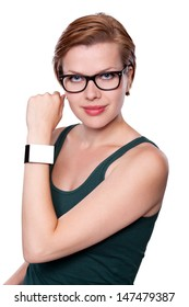 Girl with a modern Internet Smart Watch isolated on white. The Screen is blank and you can insert everthing you want to it. All Texts, Icons, Interfaces of the Smart Watch where created by myself.