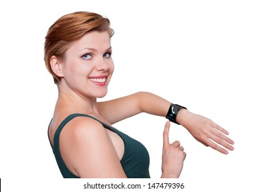 Girl with a modern Internet Smart Watch isolated on white. On the screen you can see a symbol of a call. All Texts, Icons, Interfaces of the Smart Watch where created  by myself.