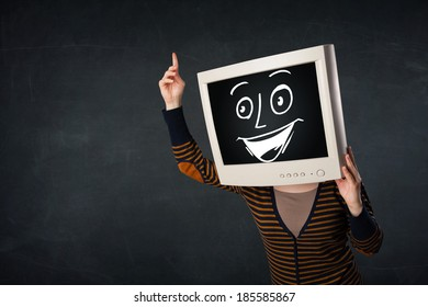 Girl with a monitor screen face and a happy cartoon face