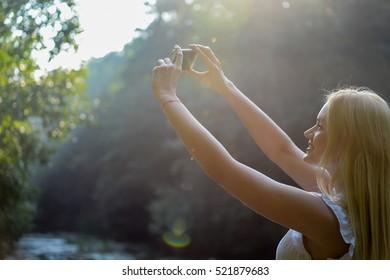 Girl morning sunrise sunset forest