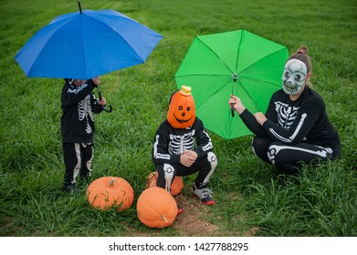 Travel Umbrella Girls Folding Umbrellas With Halloween Pumpkin Backgroud Printed