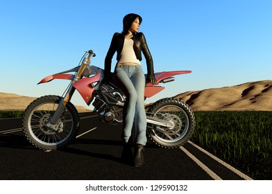 A girl and a motorcycle on the road.