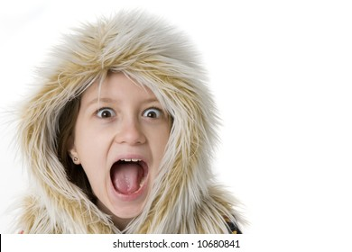 Girl with mouth wide open in a furry hood