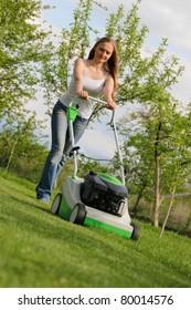 Woman Mowing Lawn Images Stock Photos Amp Vectors