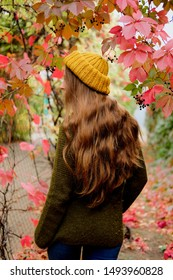 Girl in mustard yellow knit hat and marsh green wool sweater walking among colorful ivy in autumn