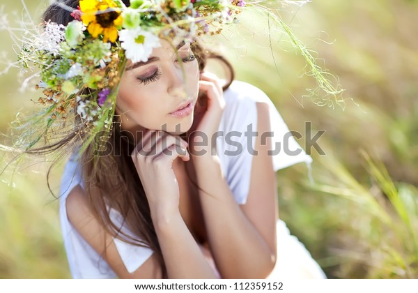 Girl nature wreath