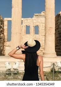 the girl near Acropolis