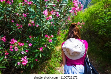 Girl near beautiful flowers in the jungle