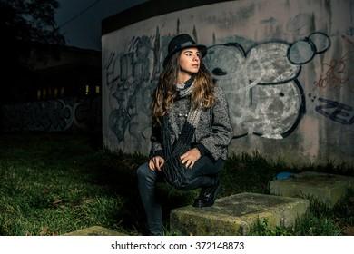 Girl near graffiti