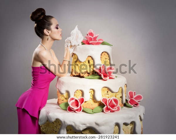 Sensational Girl Near Huge Birthday Cake Stock Photo Edit Now 281923241 Funny Birthday Cards Online Alyptdamsfinfo