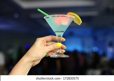 Girl with neon cocktail