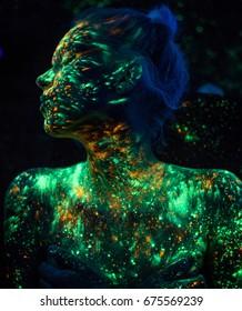 Girl in neon holi paints