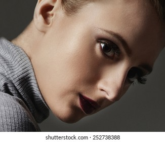 girl with nude makeup closeup