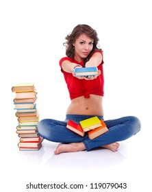 Girl offering book to us, white background