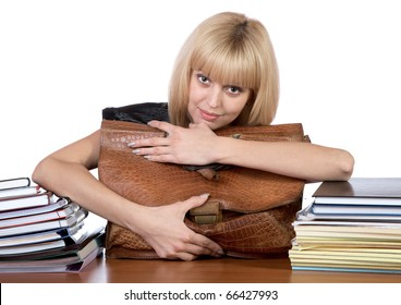 The girl with an old briefcase in hands on a white background