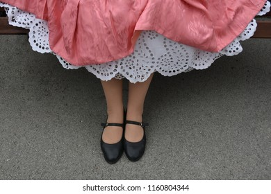 Girl with old petticoat hand embroidered cotton under the dress