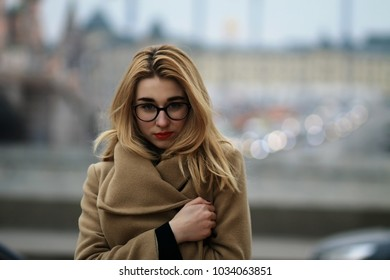girl on a background of city lights