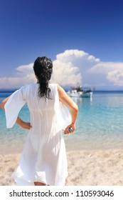 Girl on a beach in greece