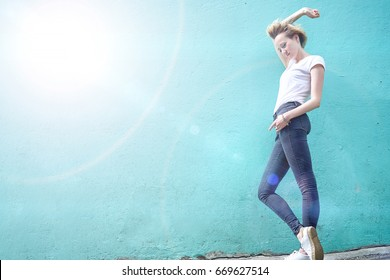 girl on a blue background solar flare copyspace