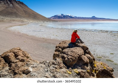 Girl on the bolivian flat