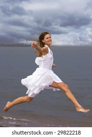 The girl on coast of a gulf
