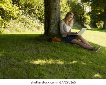 Girl on a computer under a tree