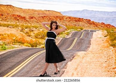 Girl on a deserted road