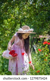 Girl on the field with poppies