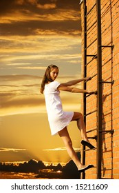 girl on fire climbs stairs