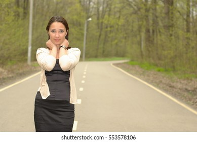 Girl on a forest road