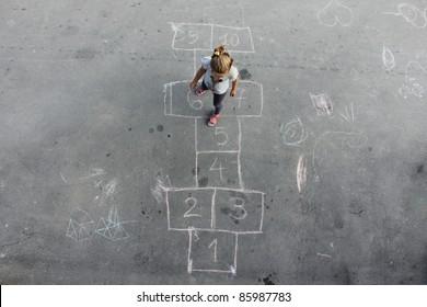 girl on the hopscotch