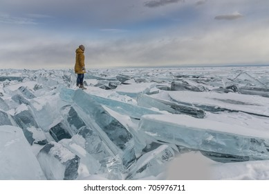 girl on lake Baikal in winter