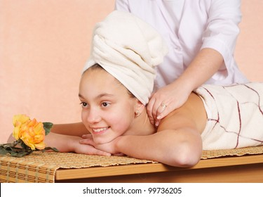 girl on massage table at