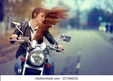 girl on a motorcycle, biker