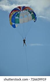 A girl on a parachute