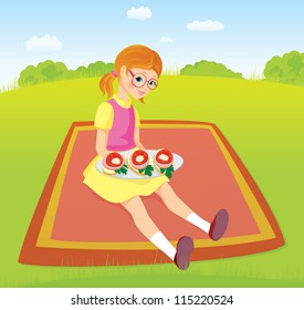 Girl on picnic and plate of sandwiches