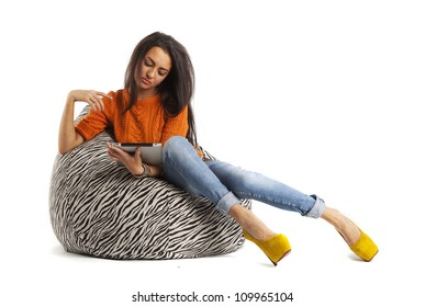 Sitting On Bean Bag Images, Stock Photos & Vectors | Shutterstock