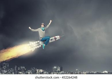 Girl on rocket . Mixed media