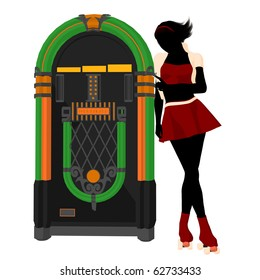 Girl on roller skates standing near a jukebox silhouette on a white background