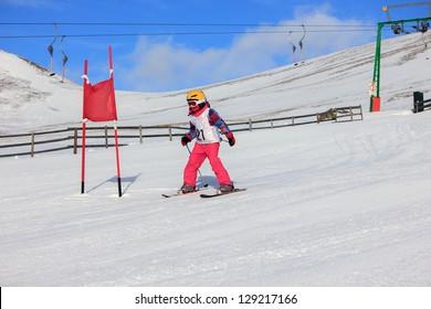 Girl on the ski race