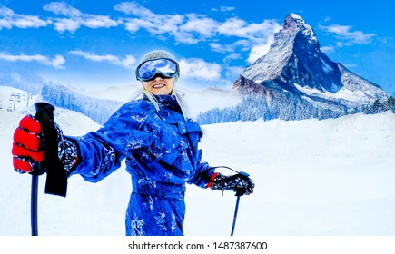 Girl on skiing on snow on a sunny day in the mountains. Ski in winter seasonon, the tops of snowy mountains in sunny day. South Tirol