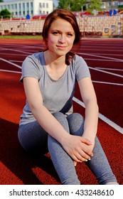 Girl on stadium athlete