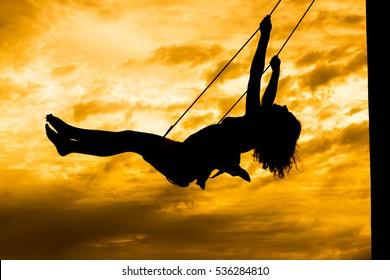 The girl on a swing. Mountain Redonda in Dominican Republic