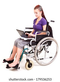 girl on wheelchair isolated on white