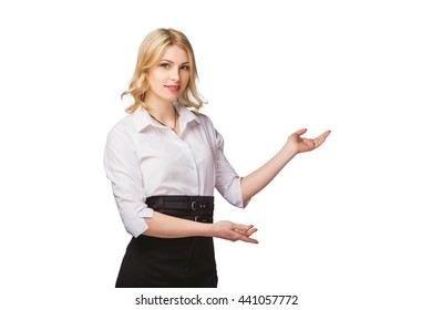 girl on white background product presentation a